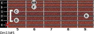 Dm13#5 for guitar on frets x, 5, 9, 5, 6, 6