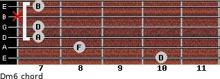 Dm6 for guitar on frets 10, 8, 7, 7, x, 7