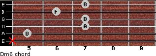 Dm6 for guitar on frets x, 5, 7, 7, 6, 7