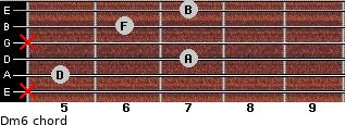 Dm6 for guitar on frets x, 5, 7, x, 6, 7