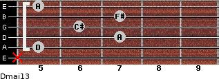 Dmaj13 for guitar on frets x, 5, 7, 6, 7, 5