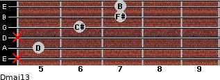 Dmaj13 for guitar on frets x, 5, x, 6, 7, 7