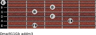 Dmaj9/11/Gb add(m3) guitar chord