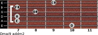 Dmaj9 add(m2) for guitar on frets 10, 7, 7, 8, 7, 9