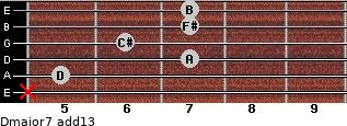 Dmajor7(add13) for guitar on frets x, 5, 7, 6, 7, 7