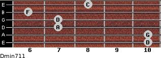 Dmin7/11 for guitar on frets 10, 10, 7, 7, 6, 8