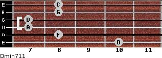 Dmin7/11 for guitar on frets 10, 8, 7, 7, 8, 8
