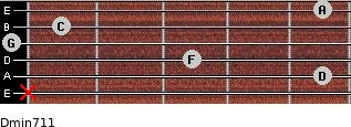 Dmin7/11 for guitar on frets x, 5, 3, 0, 1, 5