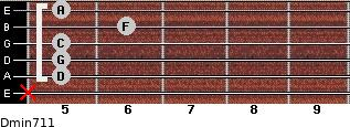 Dmin7/11 for guitar on frets x, 5, 5, 5, 6, 5