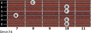 Dmin7/4 for guitar on frets 10, 10, 7, 10, 10, 8
