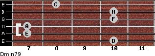 Dmin7/9 for guitar on frets 10, 7, 7, 10, 10, 8