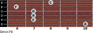 Dmin7/9 for guitar on frets 10, 7, 7, 7, 6, 8