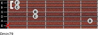 Dmin7/9 for guitar on frets x, 5, 2, 2, 1, 1
