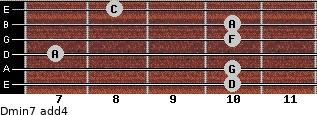 Dmin7(add4) for guitar on frets 10, 10, 7, 10, 10, 8