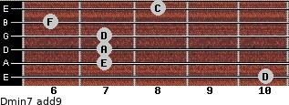 Dmin7(add9) for guitar on frets 10, 7, 7, 7, 6, 8