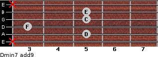 Dmin7(add9) for guitar on frets x, 5, 3, 5, 5, x