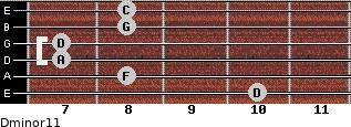 Dminor11 for guitar on frets 10, 8, 7, 7, 8, 8
