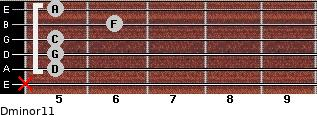 Dminor11 for guitar on frets x, 5, 5, 5, 6, 5