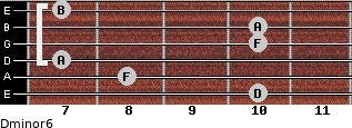 Dminor6 for guitar on frets 10, 8, 7, 10, 10, 7