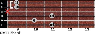 D#11 for guitar on frets 11, 10, 11, x, 9, 9