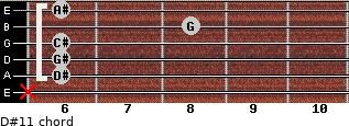 D#11 for guitar on frets x, 6, 6, 6, 8, 6