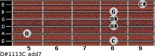 D#11/13/C add(7) for guitar on frets 8, 5, 8, 8, 8, 9