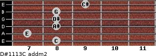 D#11/13/C add(m2) for guitar on frets 8, 7, 8, 8, 8, 9
