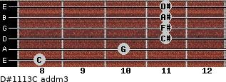 D#11/13/C add(m3) for guitar on frets 8, 10, 11, 11, 11, 11
