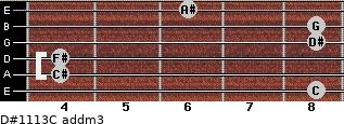 D#11/13/C add(m3) for guitar on frets 8, 4, 4, 8, 8, 6