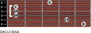 D#11/13b5/A for guitar on frets 5, 4, 1, 1, 1, 3