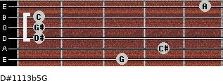 D#11/13b5/G for guitar on frets 3, 4, 1, 1, 1, 5
