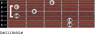 D#11/13b5/G# for guitar on frets 4, 4, 1, 2, 1, 3