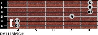 D#11/13b5/G# for guitar on frets 4, 4, 7, 8, 8, 8