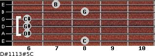 D#11/13#5/C for guitar on frets 8, 6, 6, 6, 8, 7