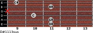D#11/13sus for guitar on frets 11, 11, 10, x, 11, 9