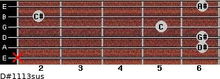 D#11/13sus for guitar on frets x, 6, 6, 5, 2, 6