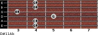 D#11/Ab for guitar on frets 4, 4, 5, 3, 4, 4