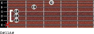 D#11/A# for guitar on frets x, 1, 1, 1, 2, 3