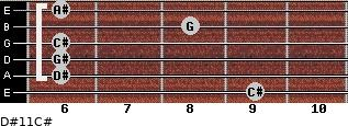 D#11/C# for guitar on frets 9, 6, 6, 6, 8, 6