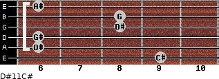 D#11/C# for guitar on frets 9, 6, 6, 8, 8, 6