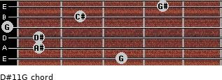 D#11/G for guitar on frets 3, 1, 1, 0, 2, 4