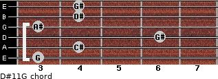 D#11/G for guitar on frets 3, 4, 6, 3, 4, 4