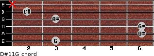 D#11/G for guitar on frets 3, 6, 6, 3, 2, x