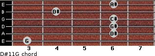 D#11/G for guitar on frets 3, 6, 6, 6, 4, 6