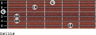 D#11/G# for guitar on frets 4, 1, 1, 0, 2, 3