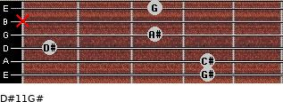 D#11/G# for guitar on frets 4, 4, 1, 3, x, 3