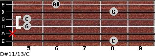D#11/13/C for guitar on frets 8, x, 5, 5, 8, 6