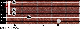 D#11/13b5/C for guitar on frets 8, 6, 5, 5, x, 5
