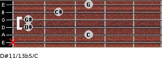 D#11/13b5/C for guitar on frets x, 3, 1, 1, 2, 3