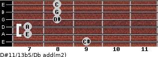 D#11/13b5/Db add(m2) guitar chord